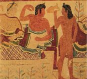 Etruscan painted bottles