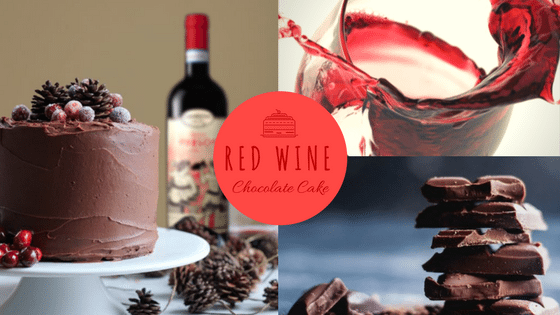 red wind and chocolate cake
